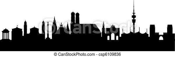 silhouette, astratto, nero, monaco - csp6109836