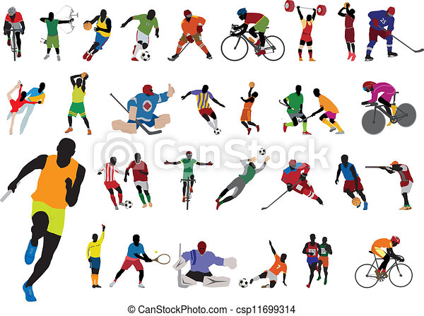 silhouette, atleta - csp11699314