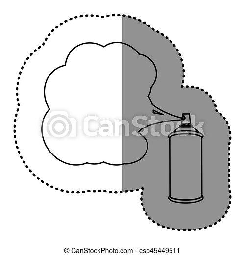silhouette, autocollant, peinture, vaporisez boîte, icône - csp45449511