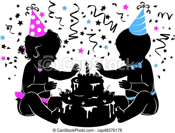 Silhouette baby boy girl twins with birthday cake with candle - csp48376178
