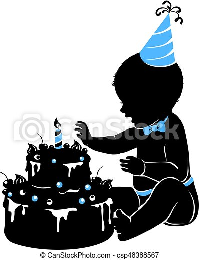 Silhouette baby boy with birthday cake with candle - csp48388567