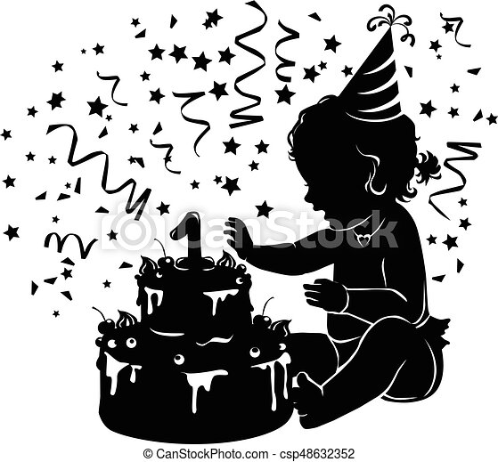 Silhouette baby girl with birthday cake with candle figure 1 - csp48632352