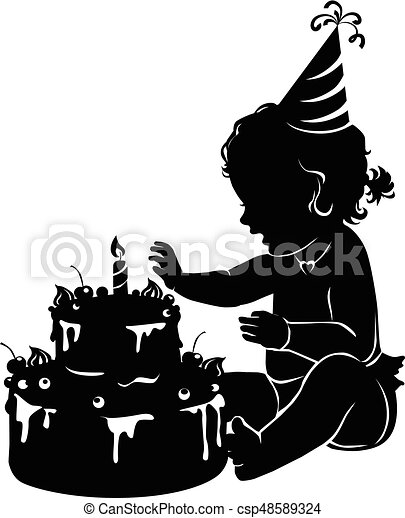 Silhouette baby girl with birthday cake with candle - csp48589324