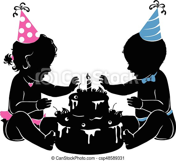 Silhouette baby twins with birthday cake with candle - csp48589331