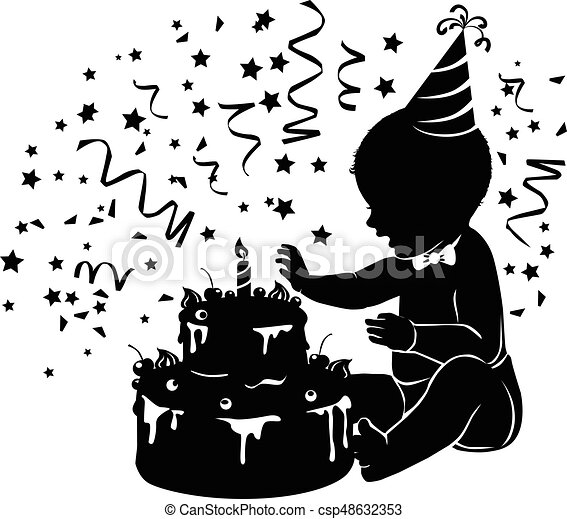 Silhouette baby with birthday cake with candle - csp48632353