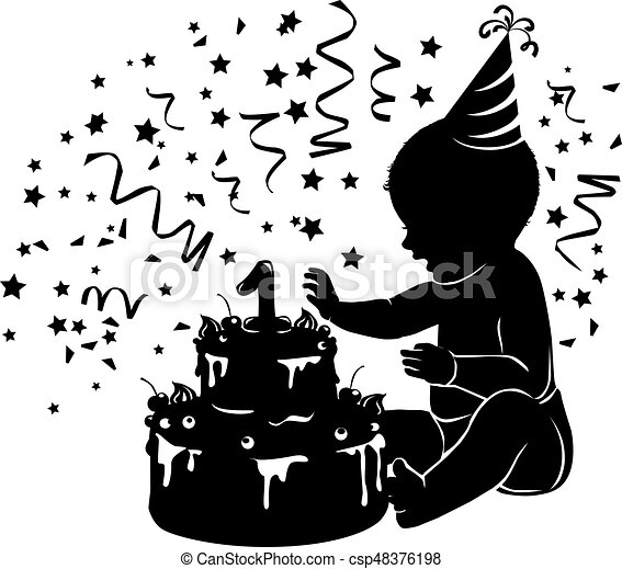 Silhouette baby with birthday cake with candle figure - csp48376198