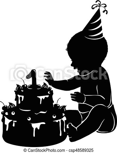 Silhouette baby with cake first birthday - csp48589325