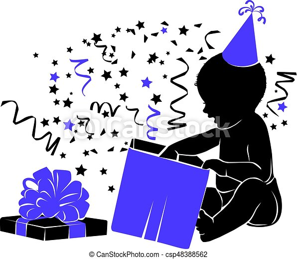 Silhouette baby with gift Birthday 1 year - csp48388562