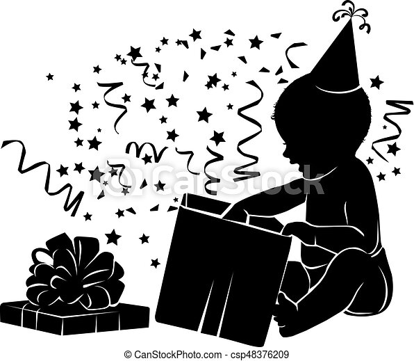 Silhouette baby with gift box Birthday 1 year - csp48376209
