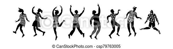 silhouette, ballo, gruppo, persone - csp79763005