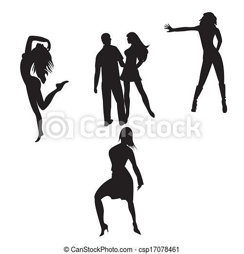 silhouette, ballo, persone - csp17078461