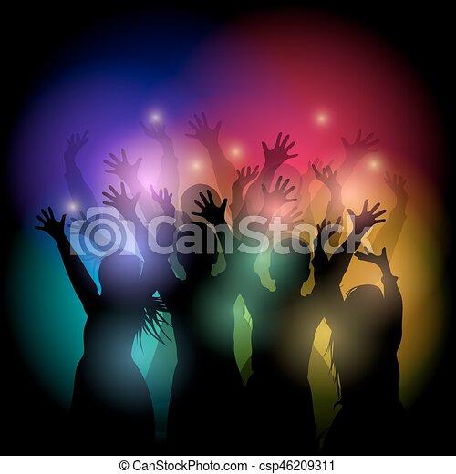 silhouette, ballo, persone - csp46209311