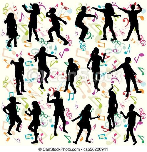 silhouette, bambini, fondo, ballo - csp56220941