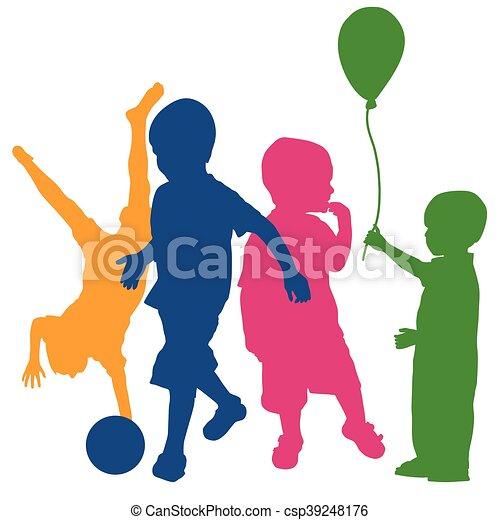 silhouette, bambini giocando, colorato - csp39248176