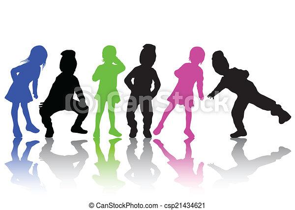 silhouette, bambini - csp21434621