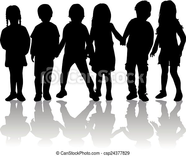 silhouette, bambini - csp24377829