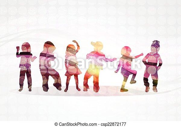 silhouette, bambini - csp22872177