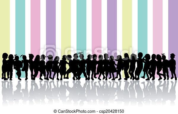 silhouette, bambini - csp20428150