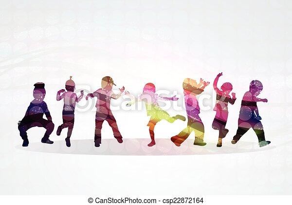 silhouette, bambini - csp22872164