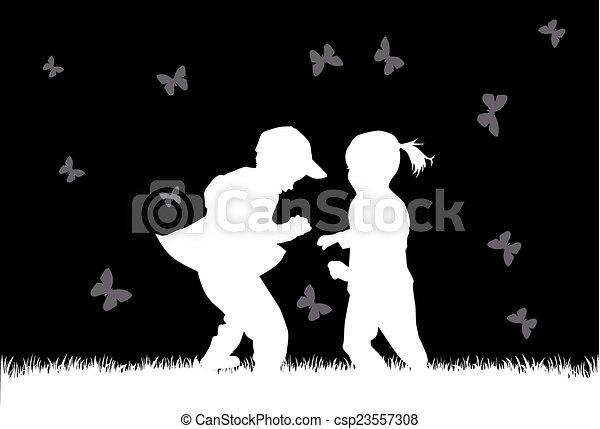 silhouette, bambini - csp23557308