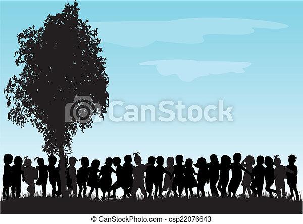 silhouette, bambini - csp22076643