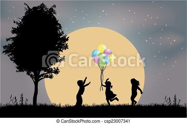 silhouette, bambini - csp23007341