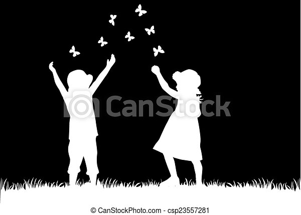 silhouette, bambini - csp23557281
