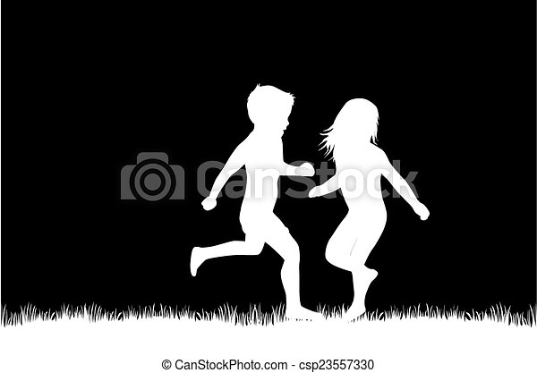 silhouette, bambini - csp23557330