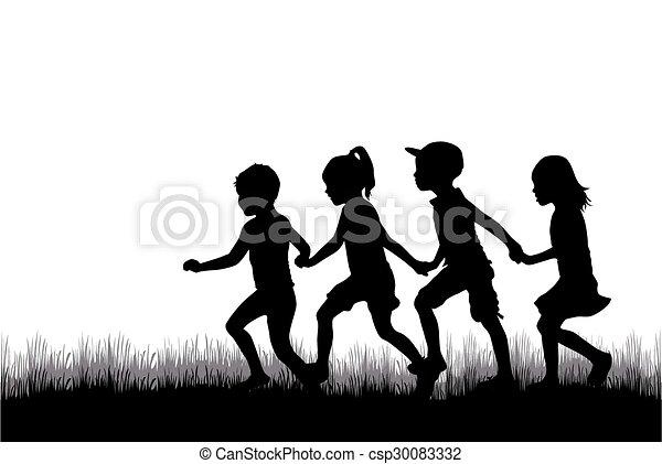 silhouette, bambini - csp30083332