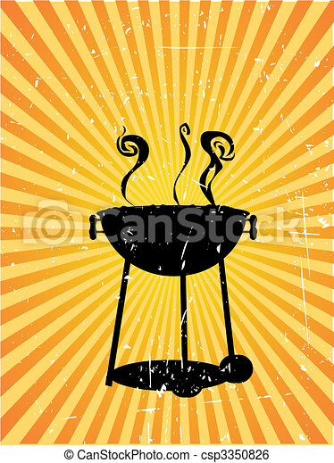 Silhouette bbq sunny rays accented grunge - csp3350826