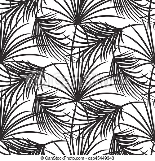 Silhouette Black Palm Leaves Seamless Vector Pattern