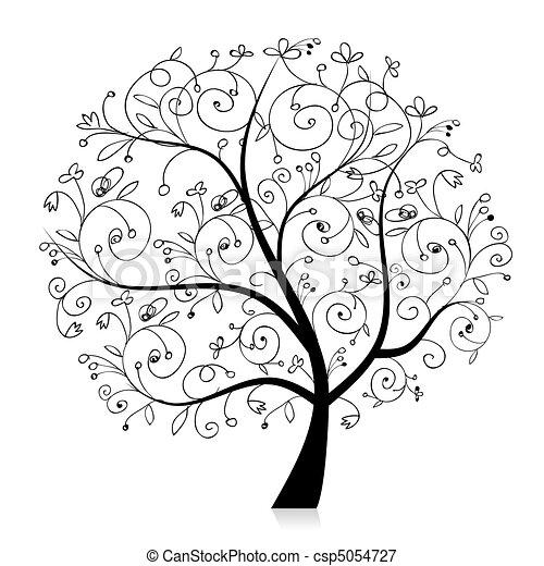 silhouette, boompje, mooi, ontwerp, kunst, jouw, black  - csp5054727