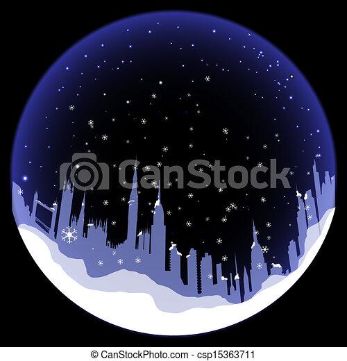 silhouette, boule de neige, vecteur, londres - csp15363711