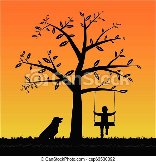 Silhouette boy on the swing with his dog - csp63530392