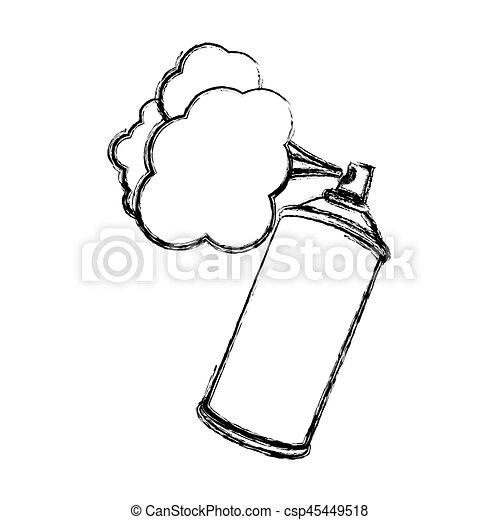 silhouette, brouillé, peinture, pulvérisation, aérosol, fumée - csp45449518
