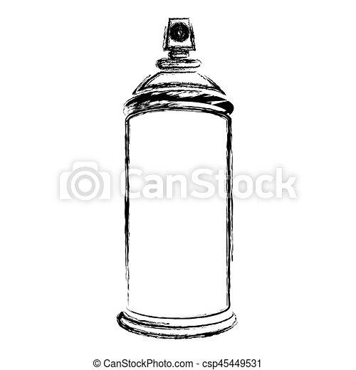 silhouette, brouillé, pulvérisation, boîte aérosol, bouteille, icône - csp45449531