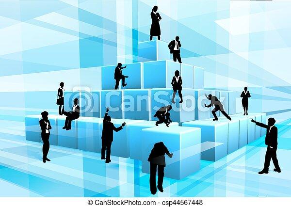 Silhouette Business Team People Building Blocks - csp44567448