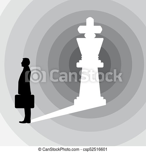 silhouette businessman and the shadow in the shape of king chess figure vector illustration isolated on white background. business leadership concept. Using shades of gray. - csp52516601