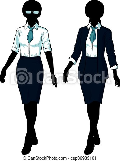 5b3ce35839a92 Silhouette businesswoman in elegant formal wear. Beautiful ...