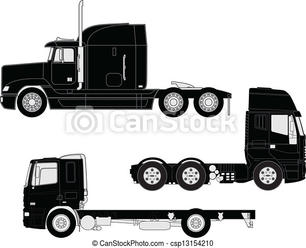 silhouette, camion - csp13154210