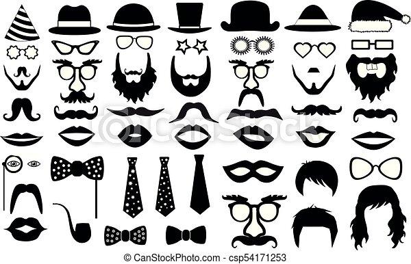wholesale dealer 568b6 a8920 silhouette, cappelli, barba, cravatta, set., monocolo, occhiali,  illustrazione, vettore, icons., baffi, festa, labbra, retro