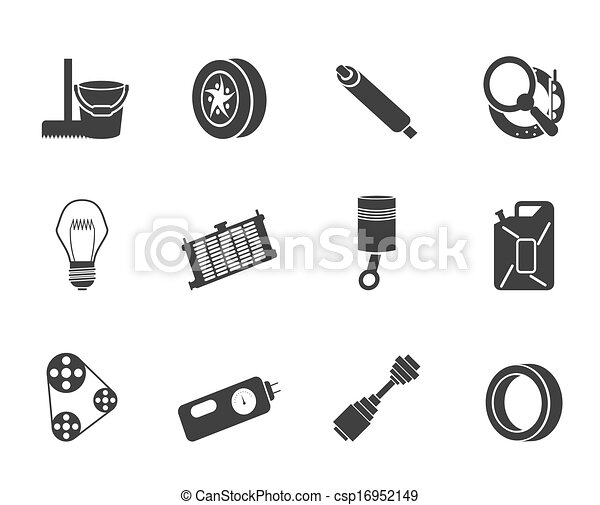Silhouette car parts icons. Silhouette car parts and services icons ...
