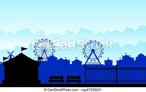 Silhouette carnival funfair with amusement scenery - csp47533241