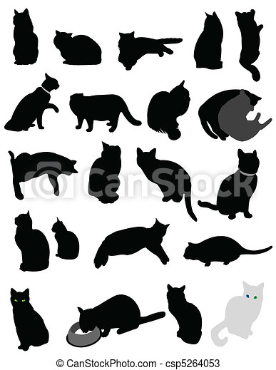silhouette cats - csp5264053