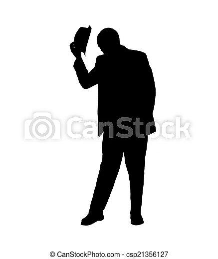 silhouette, chapeau renversant, homme, sien - csp21356127