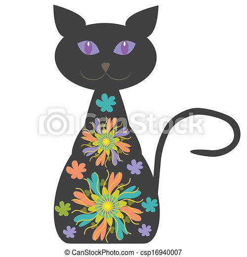 silhouette, chat, clair, conception, fleurs, ton - csp16940007
