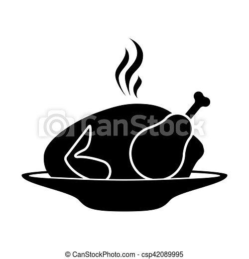 silhouette, chaud, rôti, plat, monochrome, poulet - csp42089995