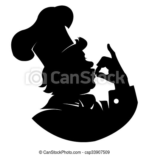 silhouette chef illustration silhouette of a happy chef vector rh canstockphoto com Female Chef Silhouette Female Chef Silhouette