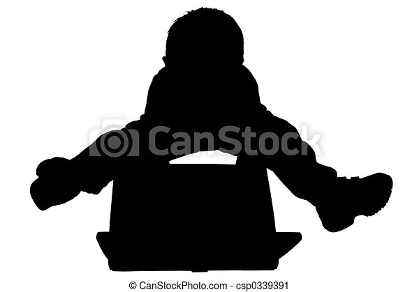 silhouette child silhouette over white boy with laptop