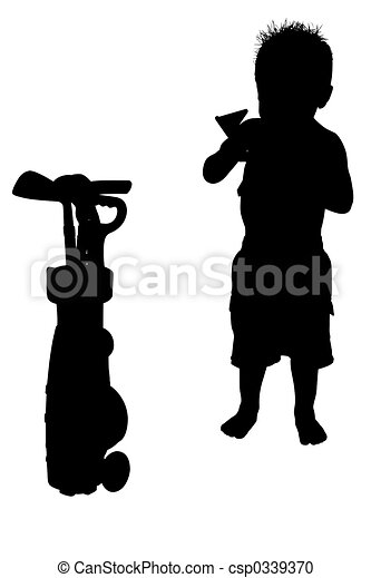 silhouette child silhouette over white boy with golf caddy